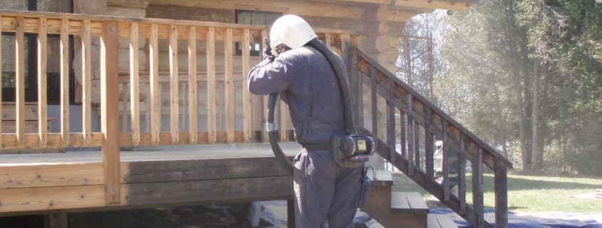 media blasting log homes